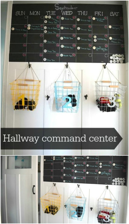 DIY Hallway Command Center And Shoe Organizer