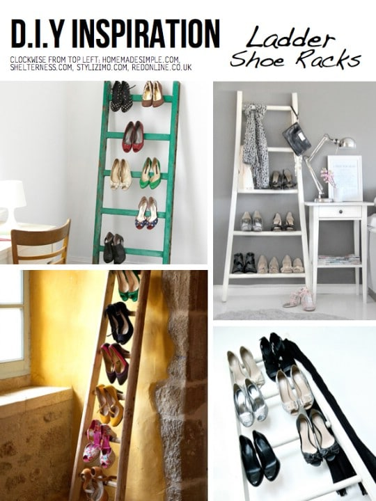 DIY Ladder Shoe Rack