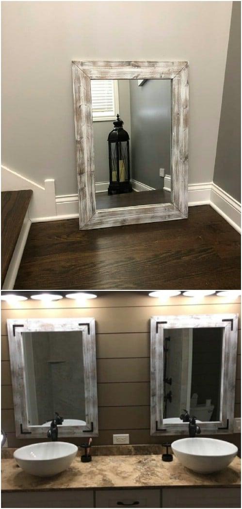 Farmhouse Inspired Whitewashed Mirror