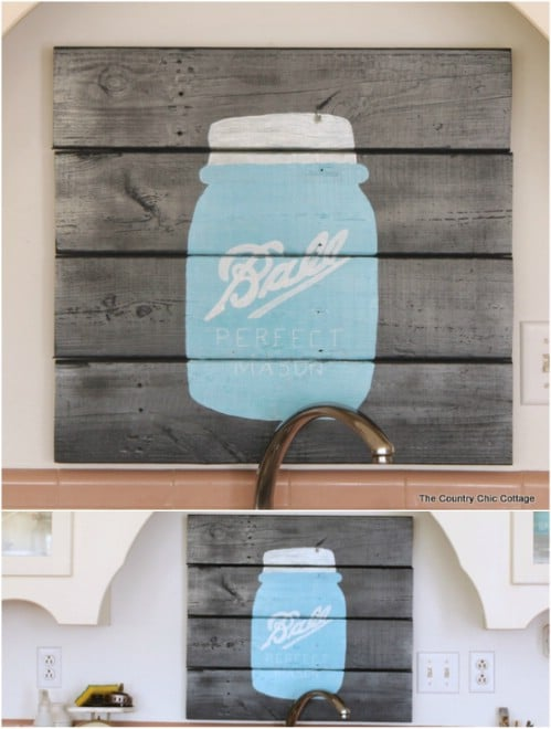 Adorable DIY Mason Jar Pallet Art