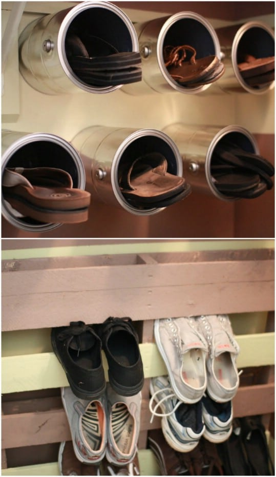Repurposed Paint Bucket Shoe Holders
