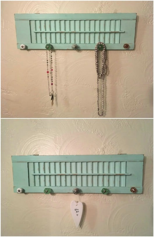 Repurposed Shutter Jewelry Holder