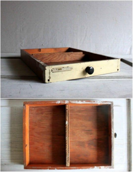 Repurposed Dresser Drawer Desk Organizer