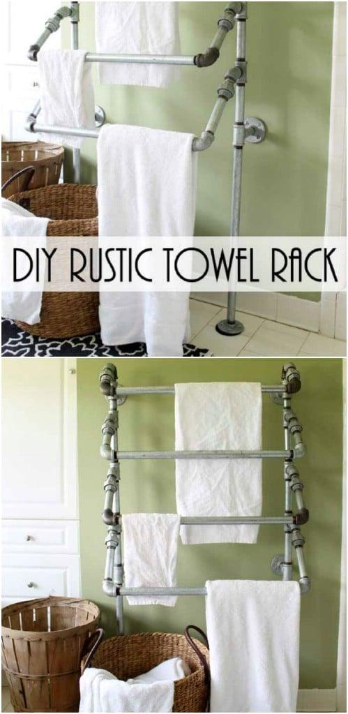 Repurposed Pipe Towel Rack