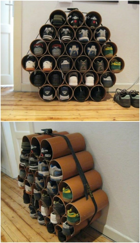 Repurposed PVC Pipe Shoe Holders