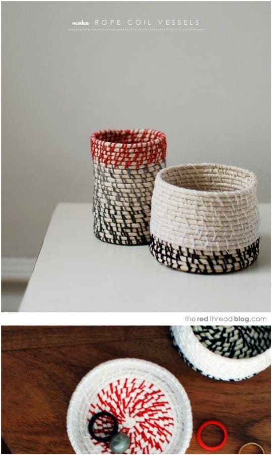 DIY Coiled Rope Desk Accessories