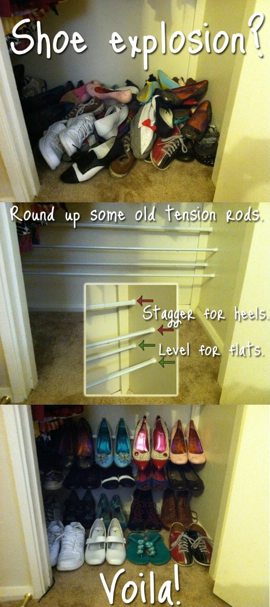 Simple DIY Tension Rod Shoe Rack
