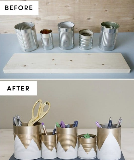 Upcycled Tin Can Organizers