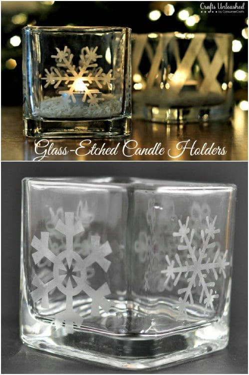 DIY Etched Glass Votive Candleholders