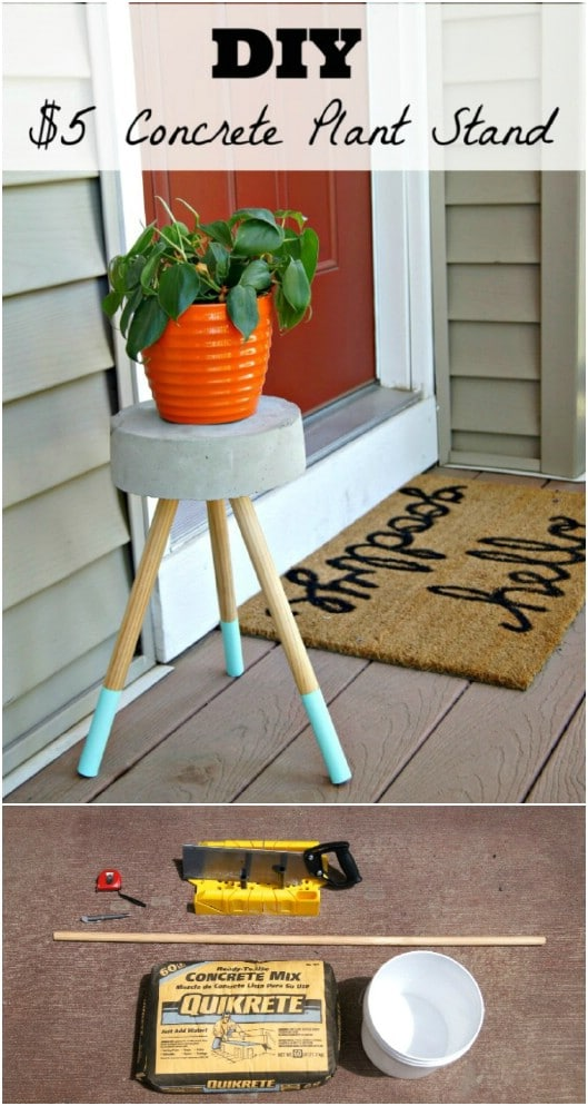 DIY Cement Top Plant Stand