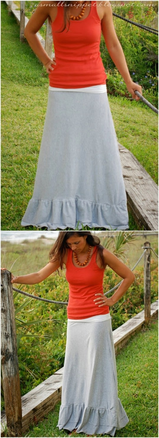 Repurposed Sheet Maxi Skirt