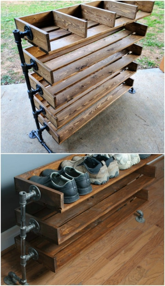 Reclaimed Wood Shoe Cubby Organizer