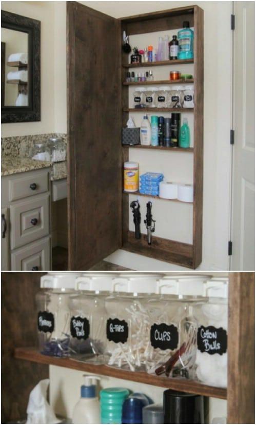 Tall Rustic Mirrored Medicine Cabinet