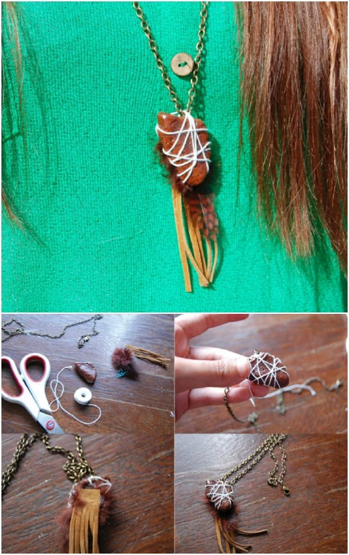 DIY Leather And Stone Necklace