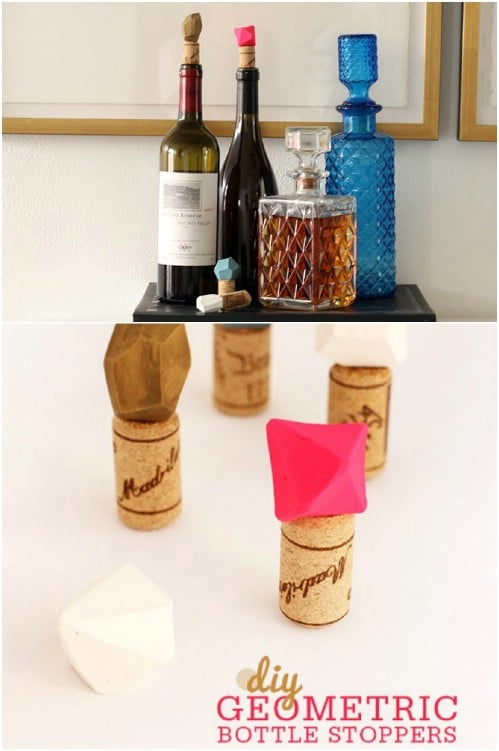 DIY Geometric Wine Bottle Stoppers