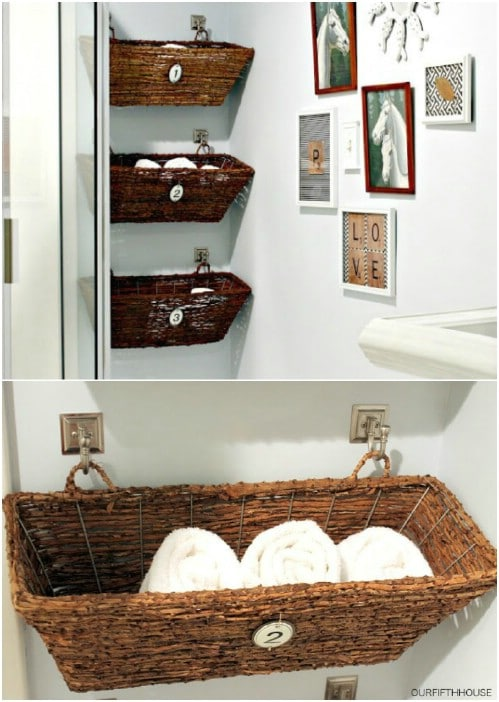 Decorative Rustic Storage Projects For Your Bathroom: 25 DIY Rustic Bathroom Décor Ideas To Give Your Bathroom Farmhouse Charm