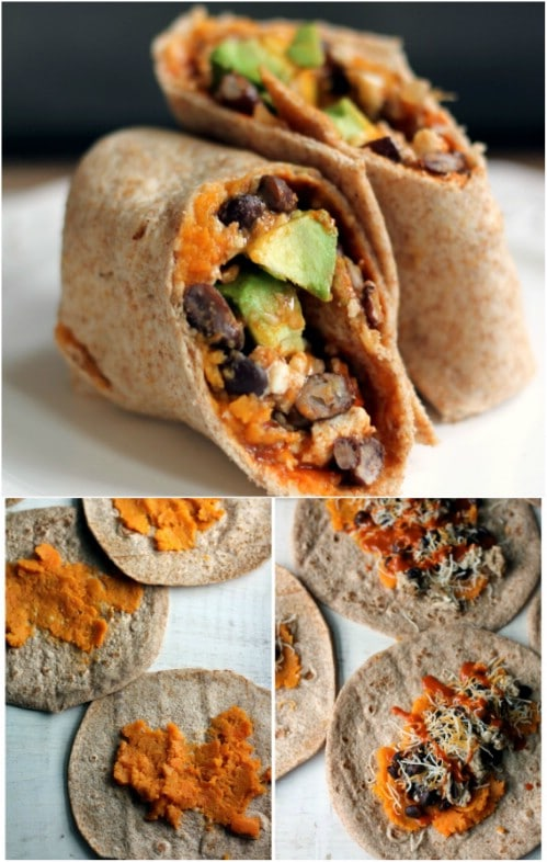 Breakfast Burrito With Sweet Potatoes, Black Beans, And Avocado