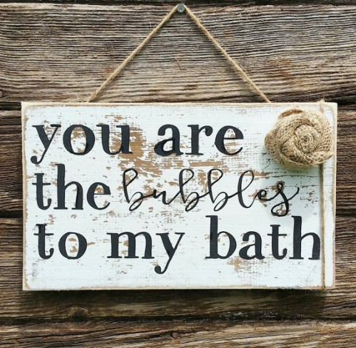 Whimsical Rustic Wooden Bubble Bath Sign