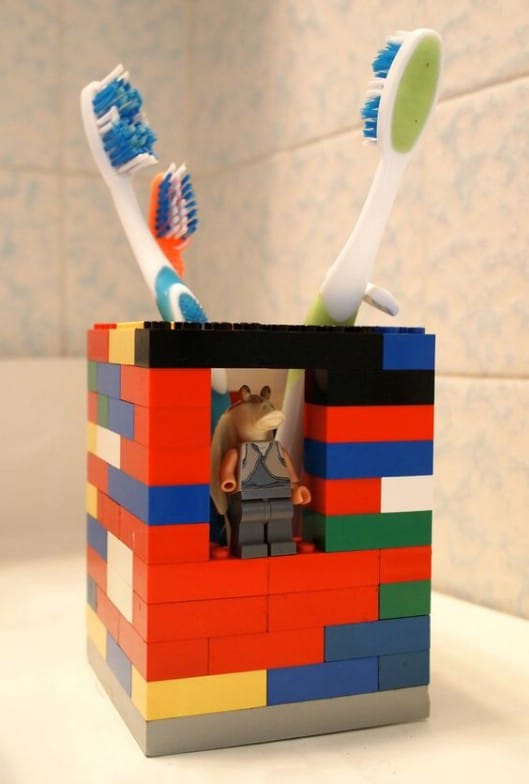 Simple DIY Lego Toothbrush Holder