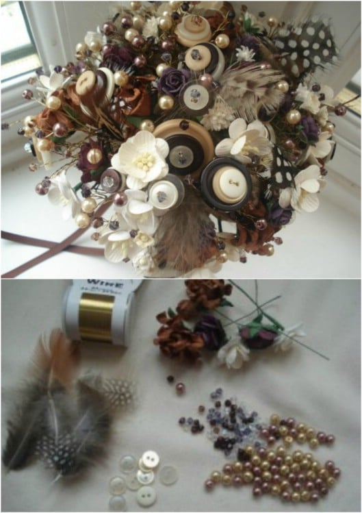 DIY Vintage Inspired Buttons And Beads Bouquet