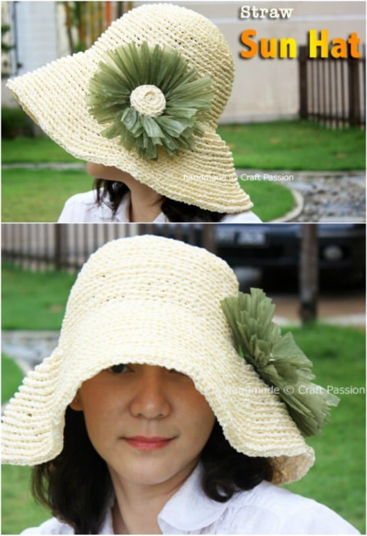 Hand Crochet Straw Hat