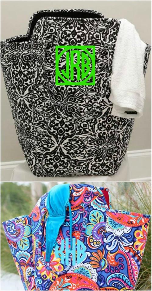 Hand Sewn Monogrammed Laundry Hamper