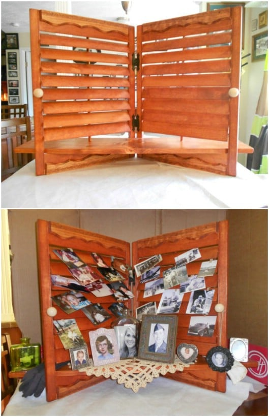 Gorgeous Repurposed Shutter Photo Display