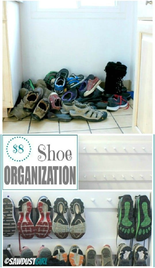 DIY Wooden Peg Shoe Organizer