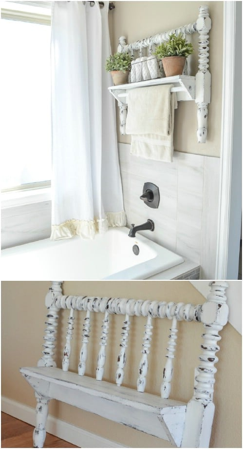 Upcycled Bed Frame Towel Bar