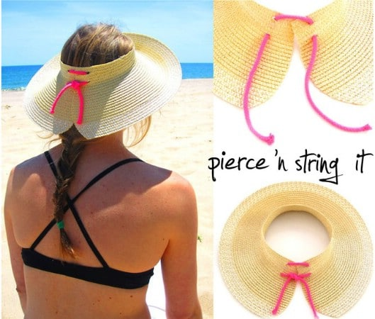 Cute Lace Up Visor Style Sunhat