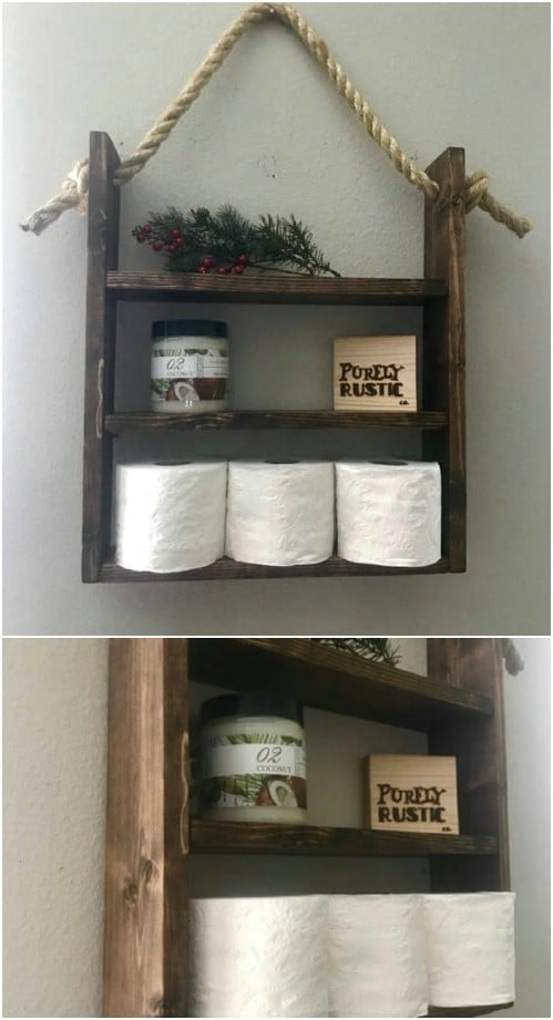 Rustic Wood And Rope Hanging Shelf