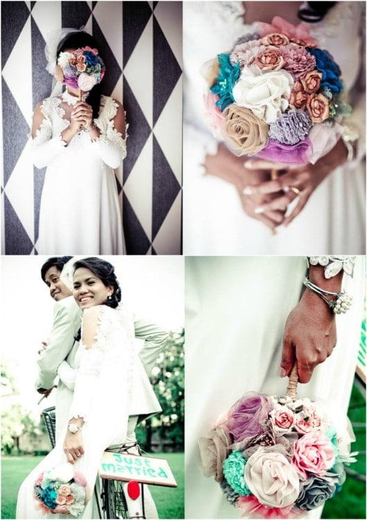 Gorgeous DIY Fabric Flower Bridal Bouquet