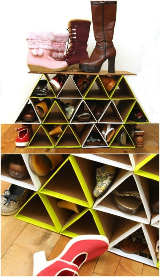 DIY Space Saving Repurposed Cardboard Shoe Rack