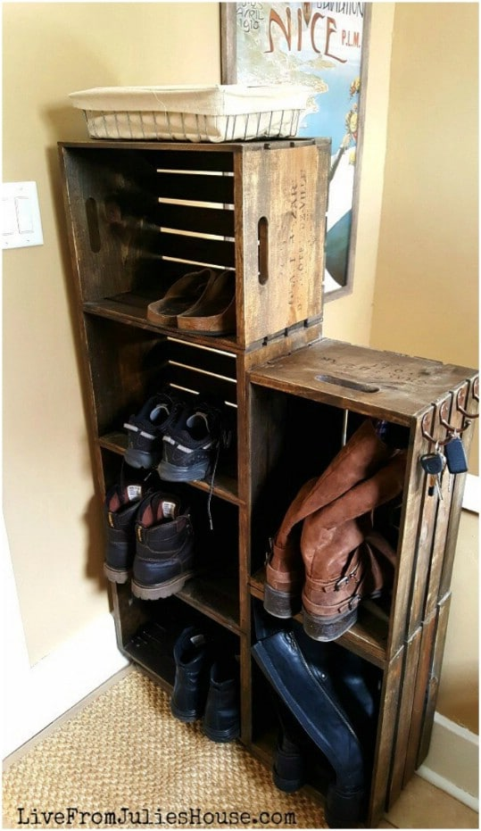 Repurposed Wooden Crate Shoe Rack