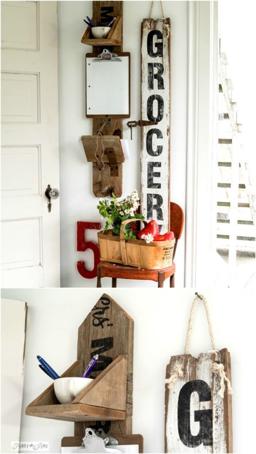 Reclaimed Wood Grocery Message Center