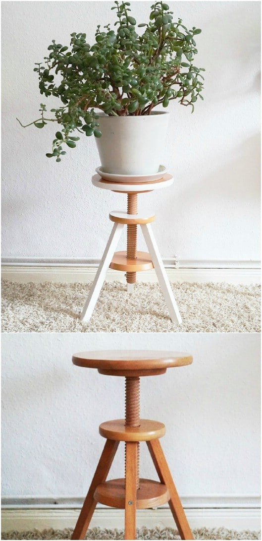 Repurposed Piano Stool Plant Stand