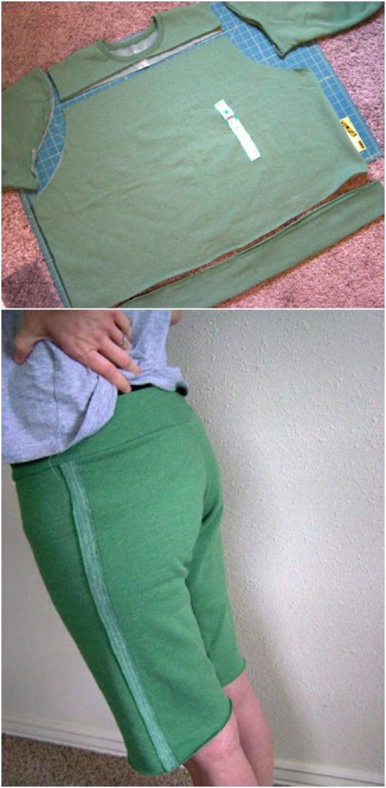 DIY Sweat Pant Workout Capris