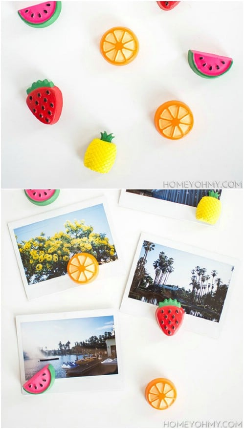 DIY Cement Fruit Magnets