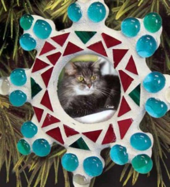 DIY Snowflake Mosaic Picture Frame