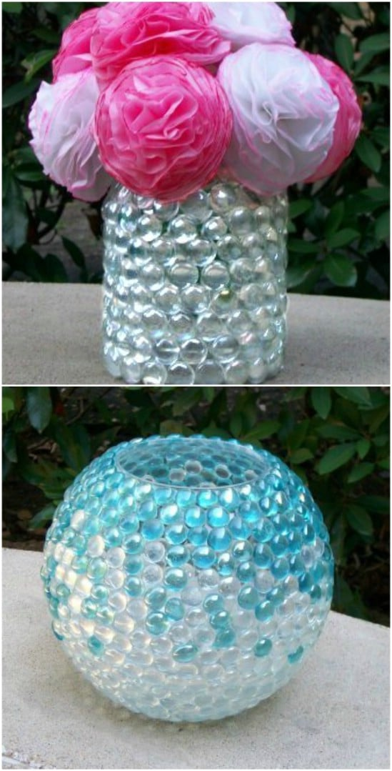 Repurposed Mayo Jar Marble Vase