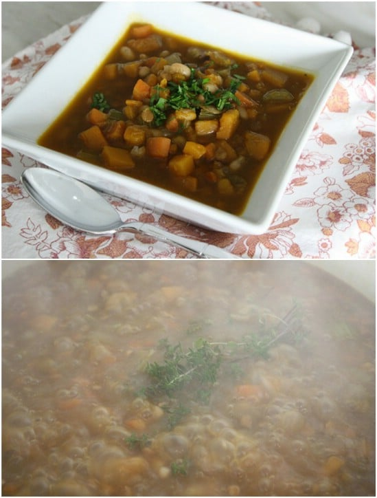 White Bean, Lentil And Pumpkin Soup