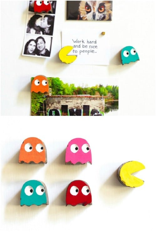 DIY Cement Pacman Refrigerator Magnets