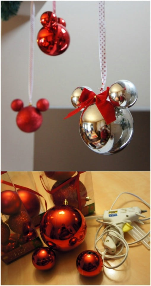 shimmering diy mickey christmas ornaments - Homemade Mickey Mouse Christmas Decorations