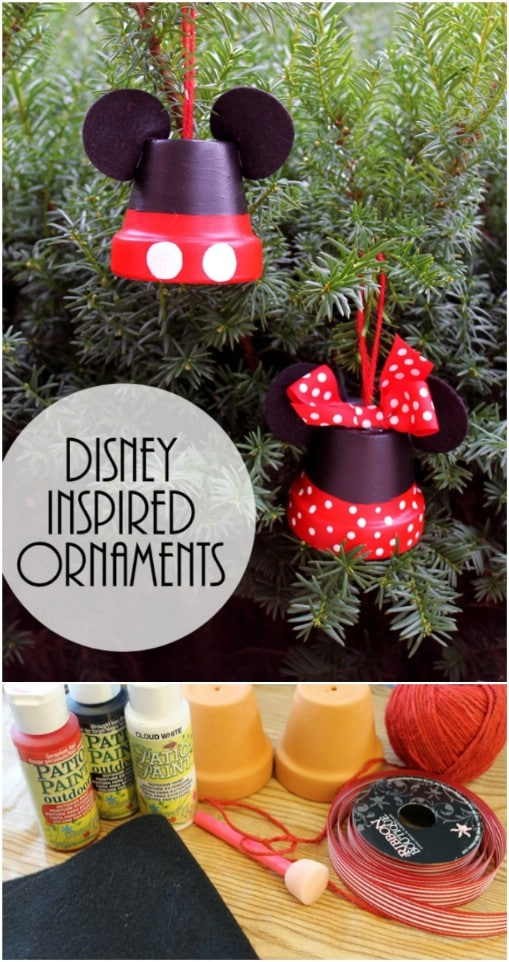 Repurposed Terra Cotta Pot Mickey Mouse Ornaments