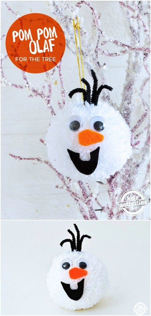 Adorable DIY Olaf Pom Pom Ornament