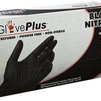 AMMEX - GPNB44100-BX - Nitrile - GlovePlus - Latex Rubber Free, Disposable, Powder Free, Industrial, 5 mil, Medium, Black (Box of 100)