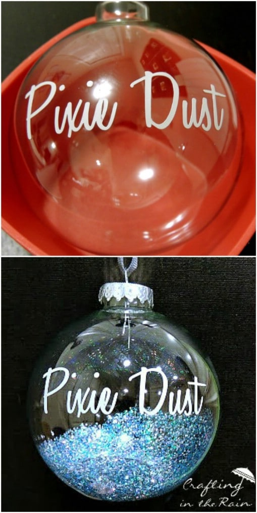 Adorable DIY Tinker Bell Pixie Dust Ornaments