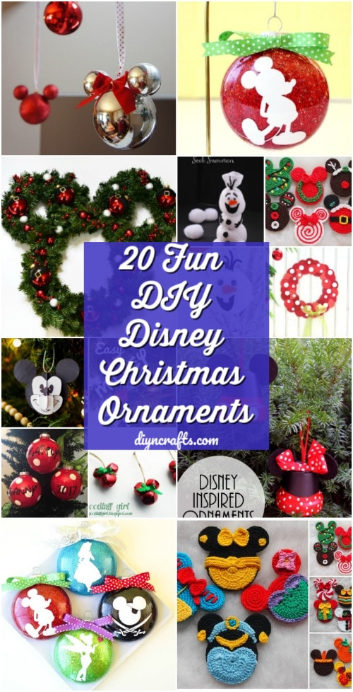 20 creative diy disney christmas ornaments anyone can do - Homemade Mickey Mouse Christmas Decorations