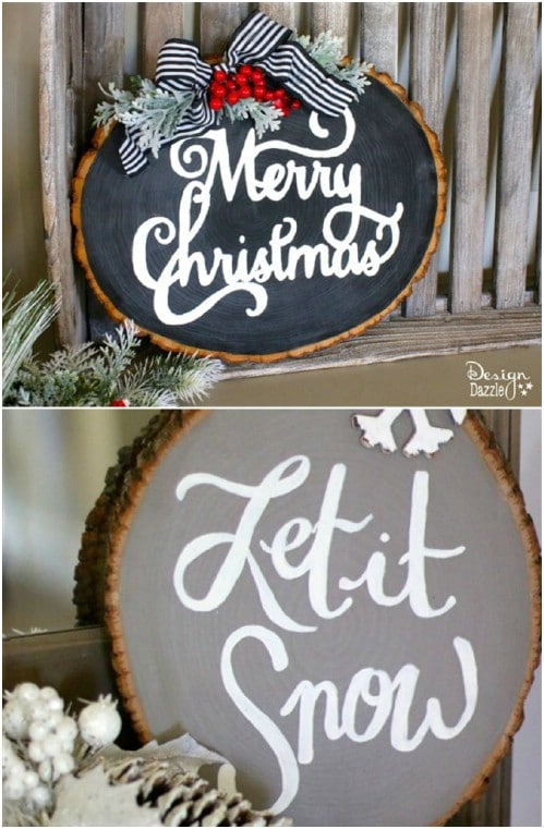 DIY Wood Slice Christmas Sign