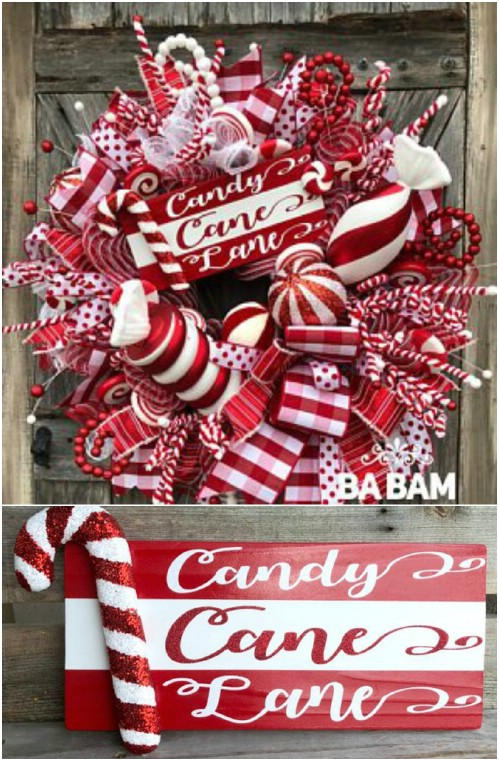 Cute Candy Cane Lane Wooden Sign